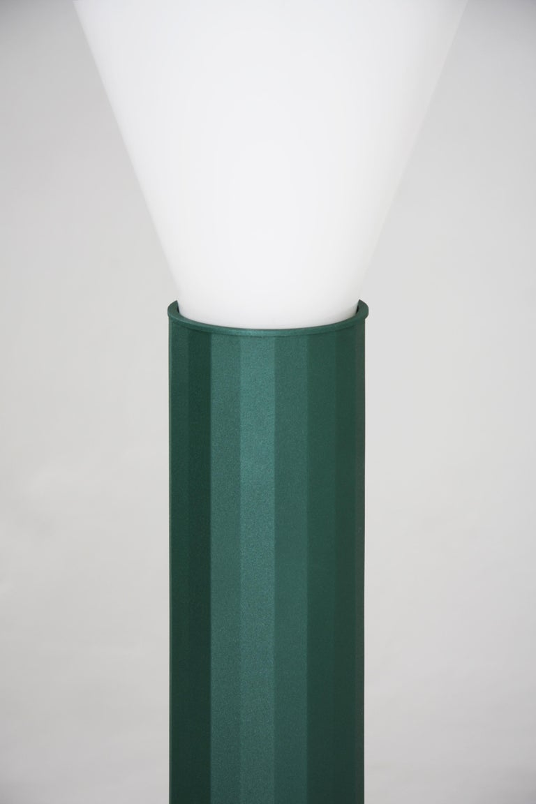 Other Floor Lamp in Powder-Coated Steel and Milk Glass Handcrafted For Sale