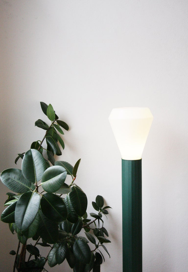 European Floor Lamp in Powder-Coated Steel and Milk Glass Handcrafted For Sale