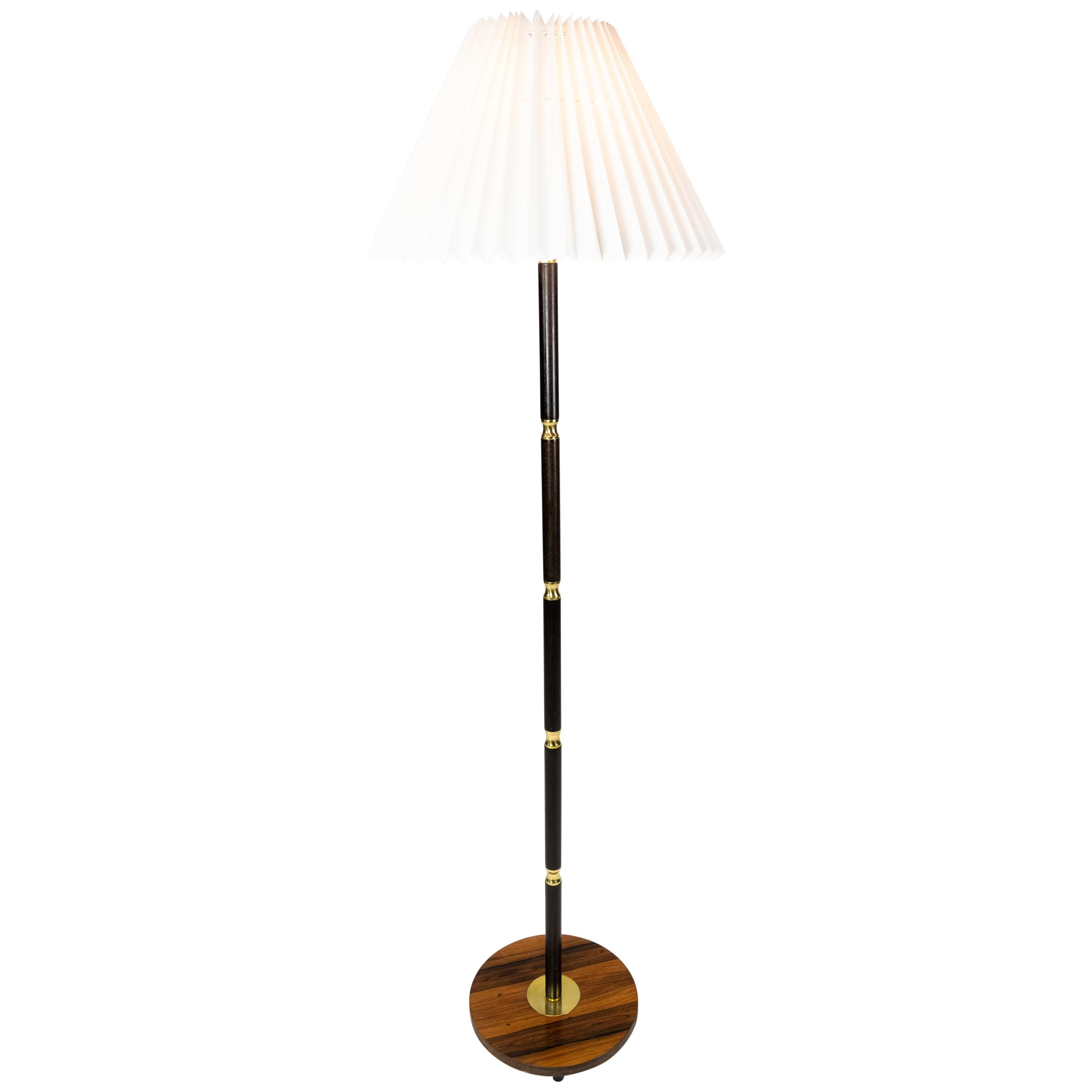 Floor Lamp in Rosewood and Brass of Danish Design from the 1960s