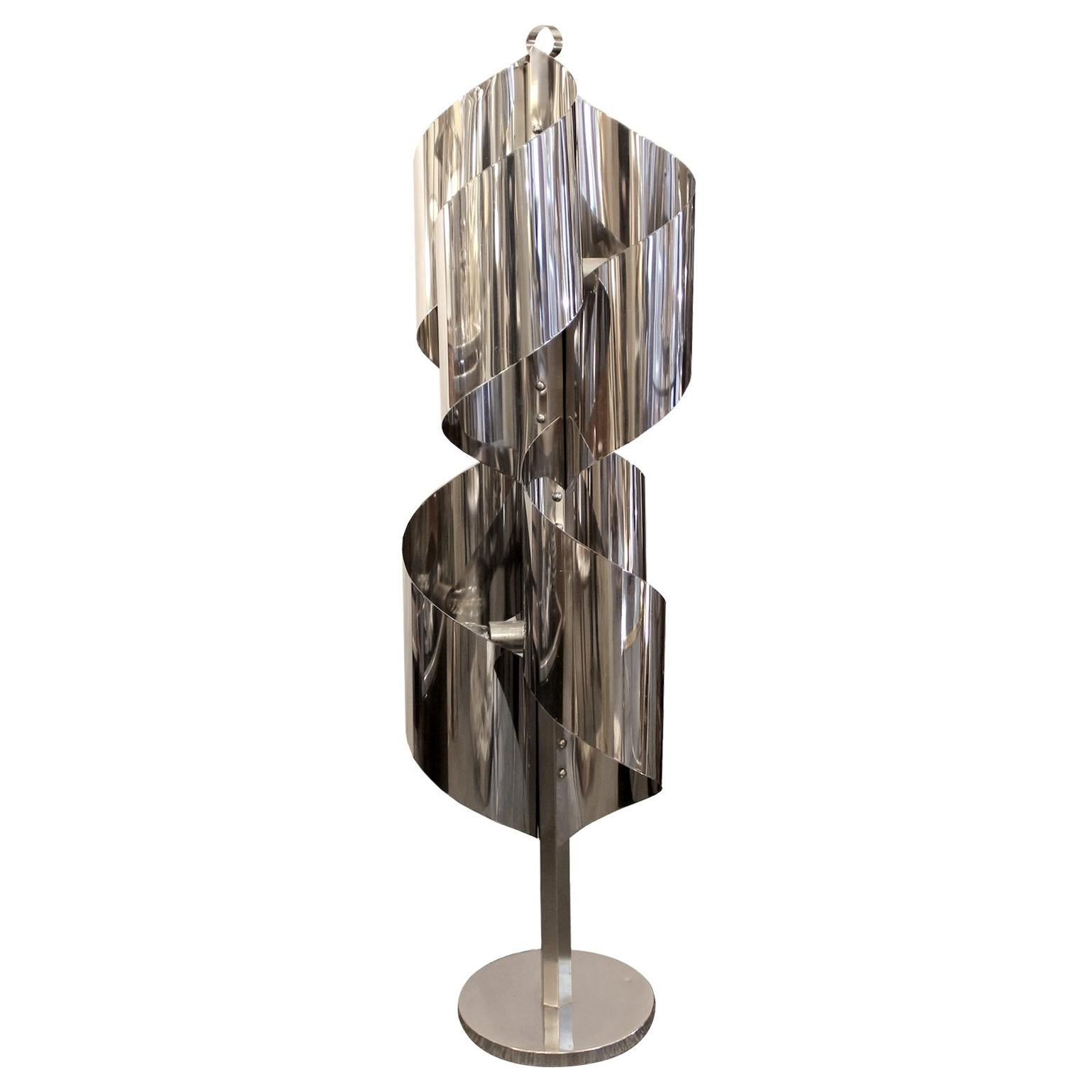 Floor Lamp in Shiny Stainless Steel, Italy, circa 1970