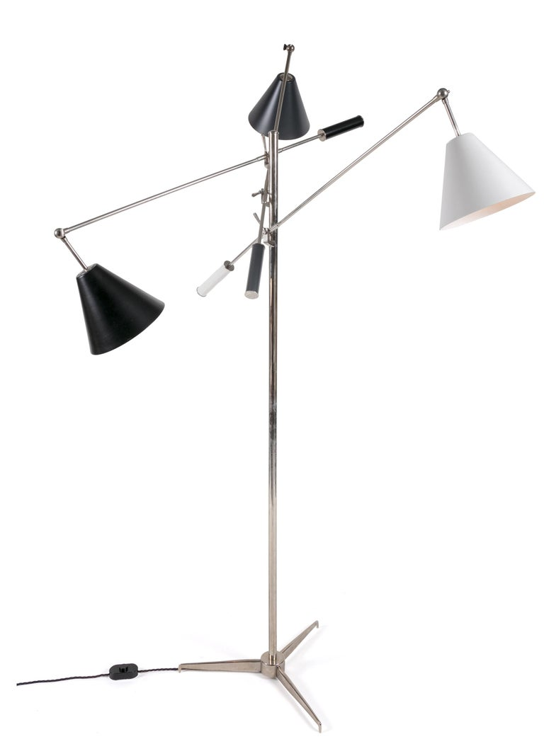 Mid-Century Modern Floor Lamp in the Style of Angelo Lelli's Triennale, Italy, 2011 For Sale