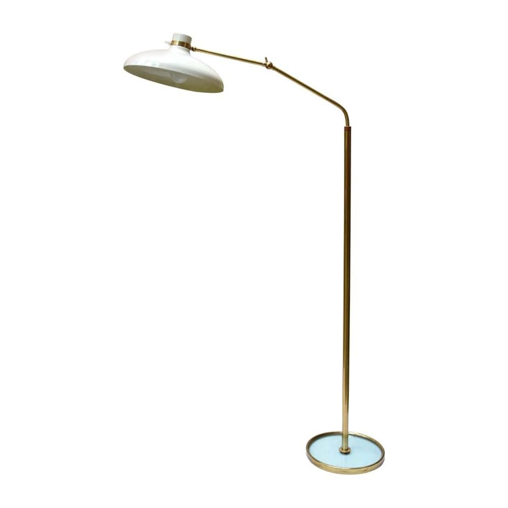 Floor Lamp Italian Design by Gio Ponti for Fontana Arte Cream Shade on Brass 60s