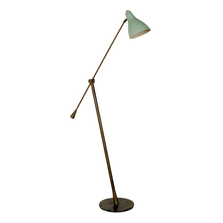Floor Lamp Lacquered Aluminium Brass Marble Vintage, Italy, 1950s
