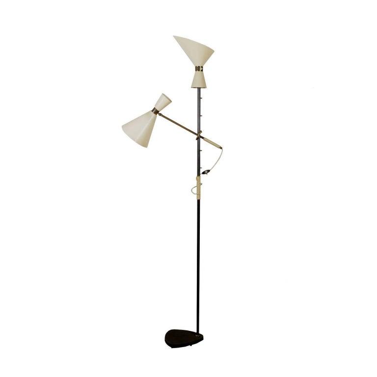 Floor Lamp Metal Brass Lacquered Aluminium Vintage, Italy, 1950s