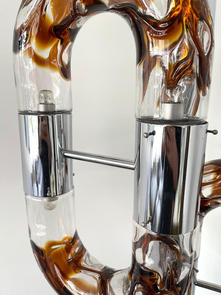 Floor Lamp Metal Chrome Murano Glass by Aldo Nason for Mazzega, Italy, 1970s For Sale 4