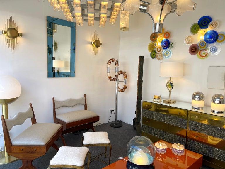 Floor Lamp Metal Chrome Murano Glass by Aldo Nason for Mazzega, Italy, 1970s For Sale 5