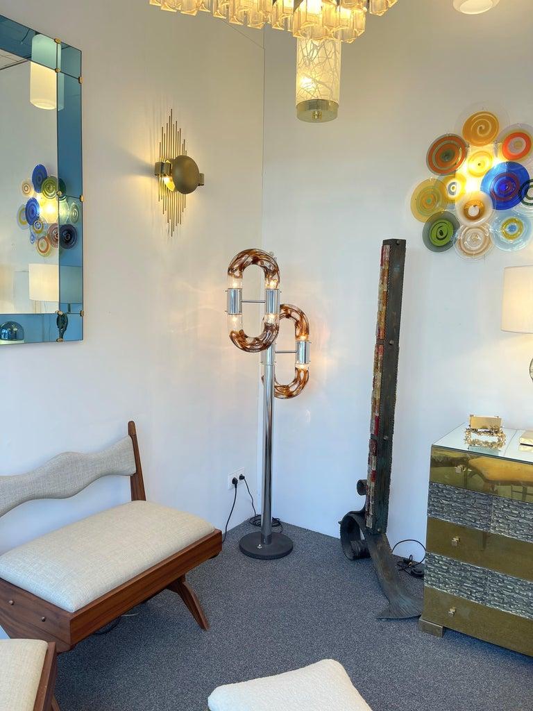 Floor Lamp Metal Chrome Murano Glass by Aldo Nason for Mazzega, Italy, 1970s For Sale 7