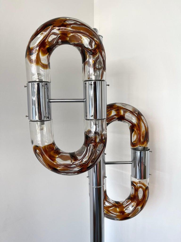 Italian Floor Lamp Metal Chrome Murano Glass by Aldo Nason for Mazzega, Italy, 1970s For Sale