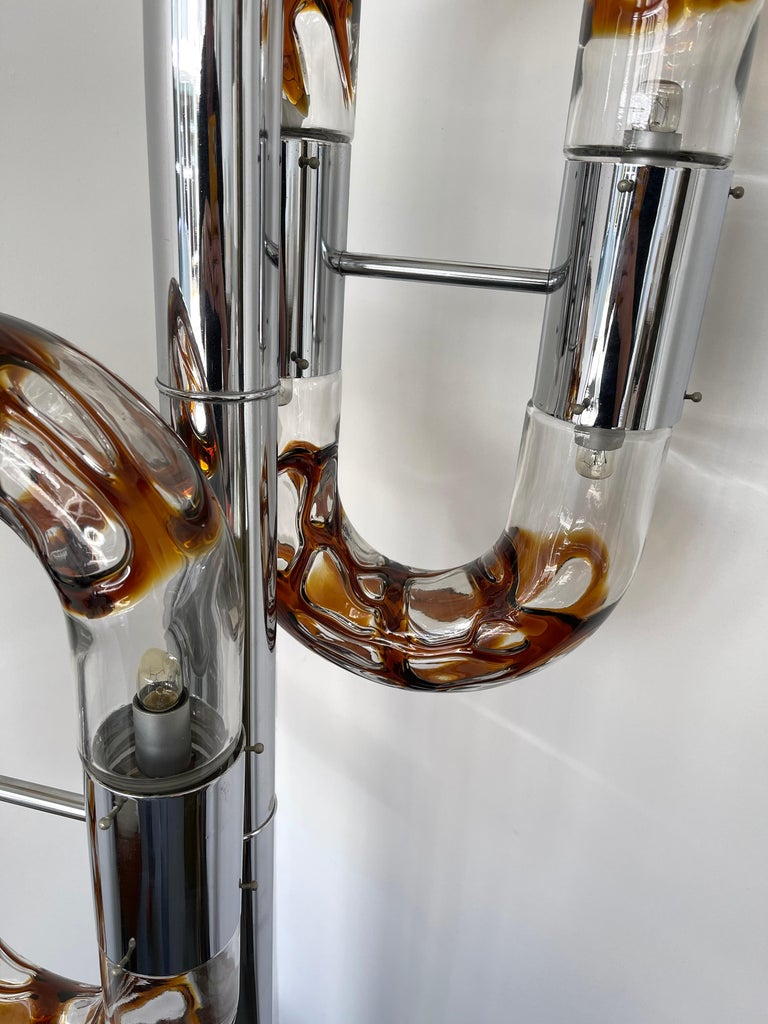 Floor Lamp Metal Chrome Murano Glass by Aldo Nason for Mazzega, Italy, 1970s In Good Condition For Sale In SAINT-OUEN, FR