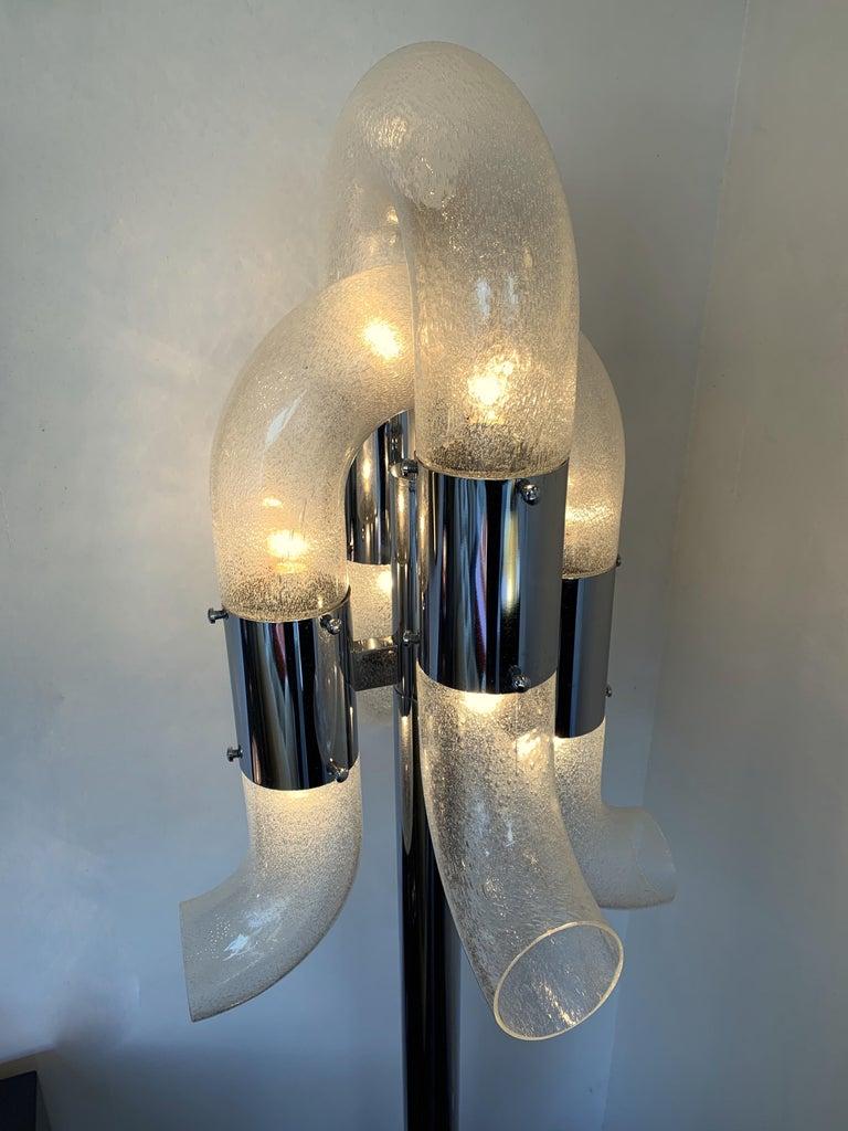 Late 20th Century Floor Lamp Metal Chrome Murano Glass by Aldo Nason for Mazzega, Italy, 1970s For Sale