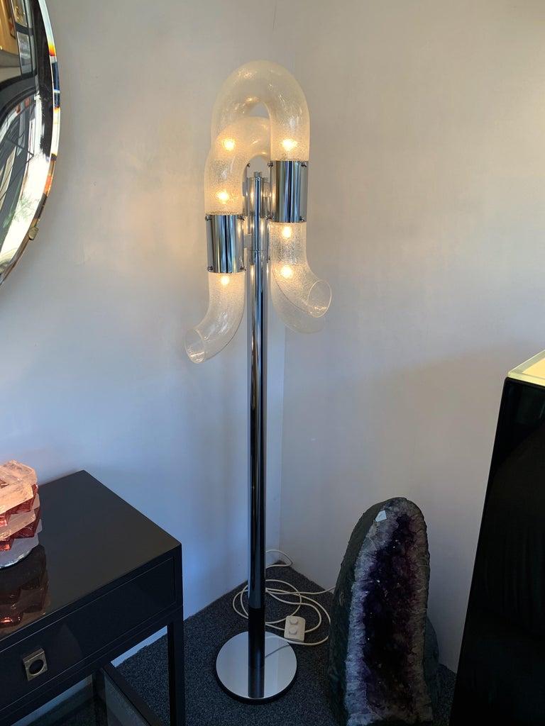 Floor Lamp Metal Chrome Murano Glass by Aldo Nason for Mazzega, Italy, 1970s For Sale 2
