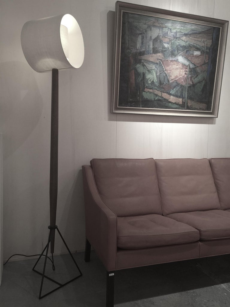 Other Floor Lamp 'Moore' in American Walnut and Shades in Raw Silk For Sale
