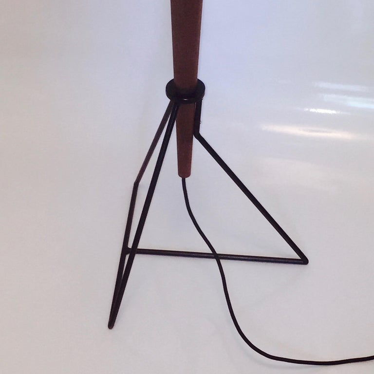 Powder-Coated Floor Lamp 'Moore' in American Walnut and Shades in Raw Silk For Sale