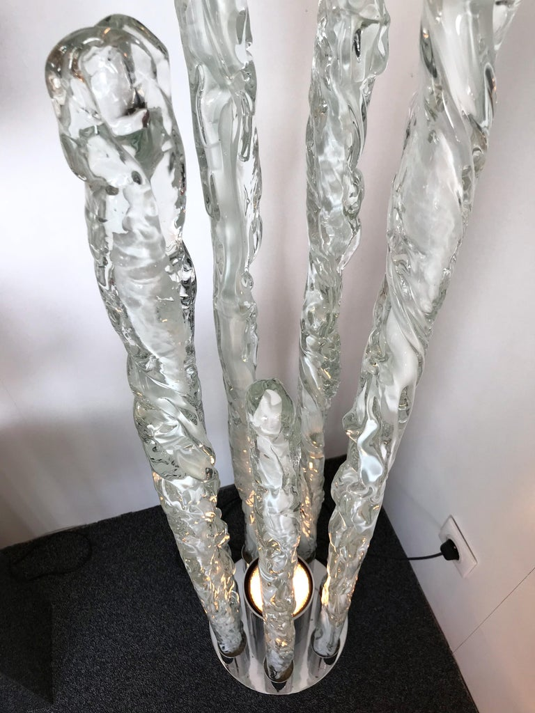 Floor Lamp Murano Glass Excalibur by Ettore Gino Poli for Sothis, Italy, 1970s In Excellent Condition For Sale In SAINT-OUEN, FR
