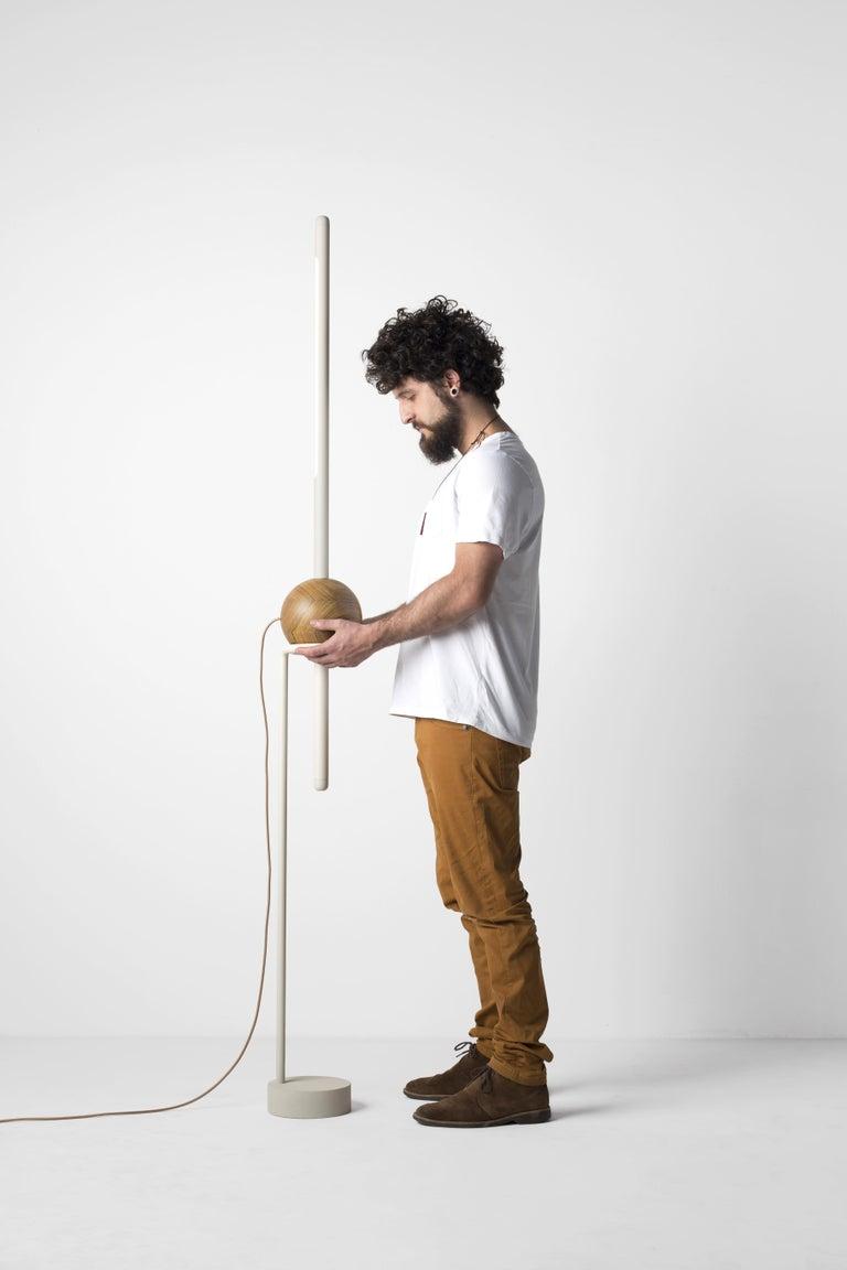 Contemporary Floor Lamp Pivô on Tropical Brazilian Hardwood For Sale