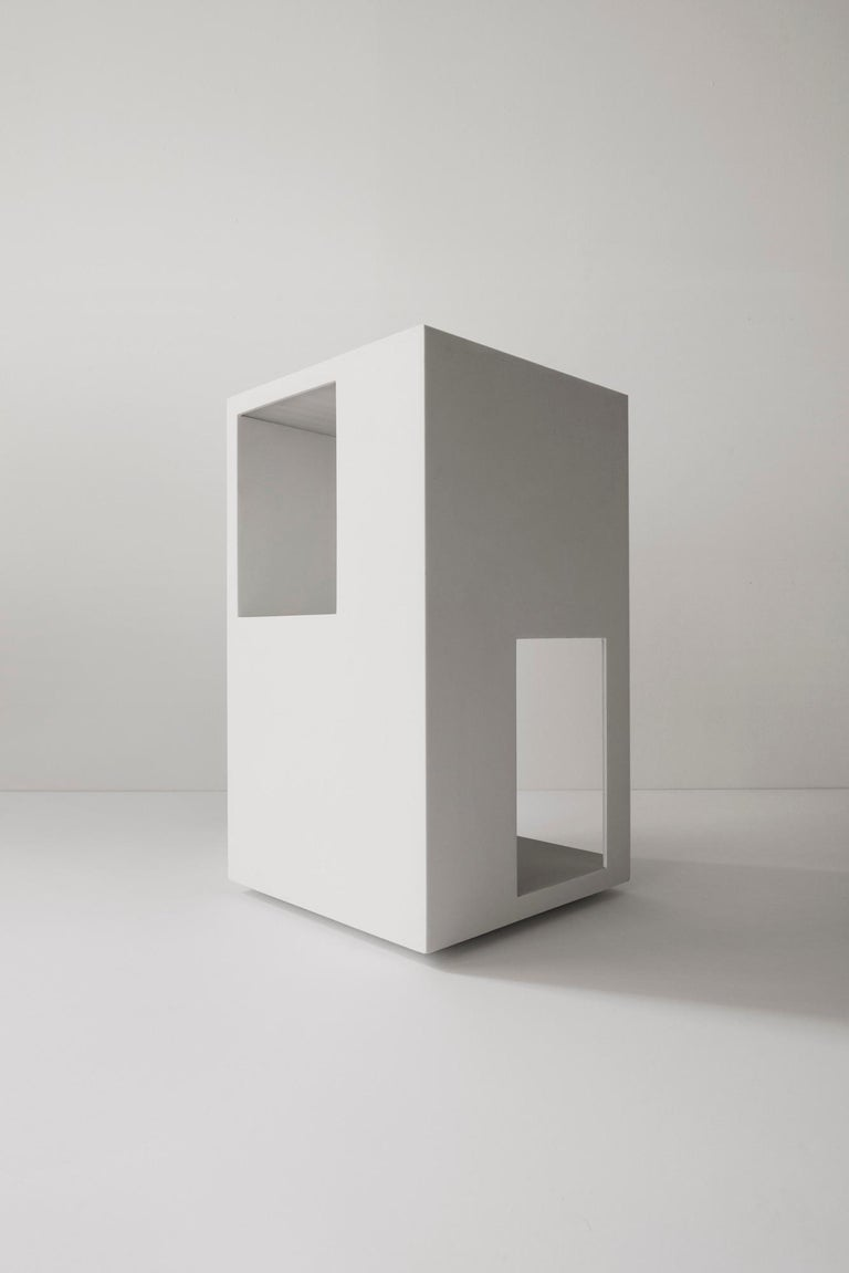 Part of the Fire Island Series. Three functions: end table, sculpture, and floor lamp. The series is inspired by different perspectives of early iconic homes on Fire Island, Long Island and Connecticut designed by Richard and other seminal