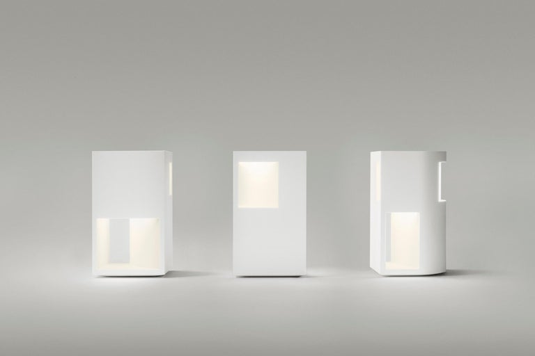 Modern Floor Lamp Sculpture or End Table in White Corian, Ltd. Edition, I For Sale
