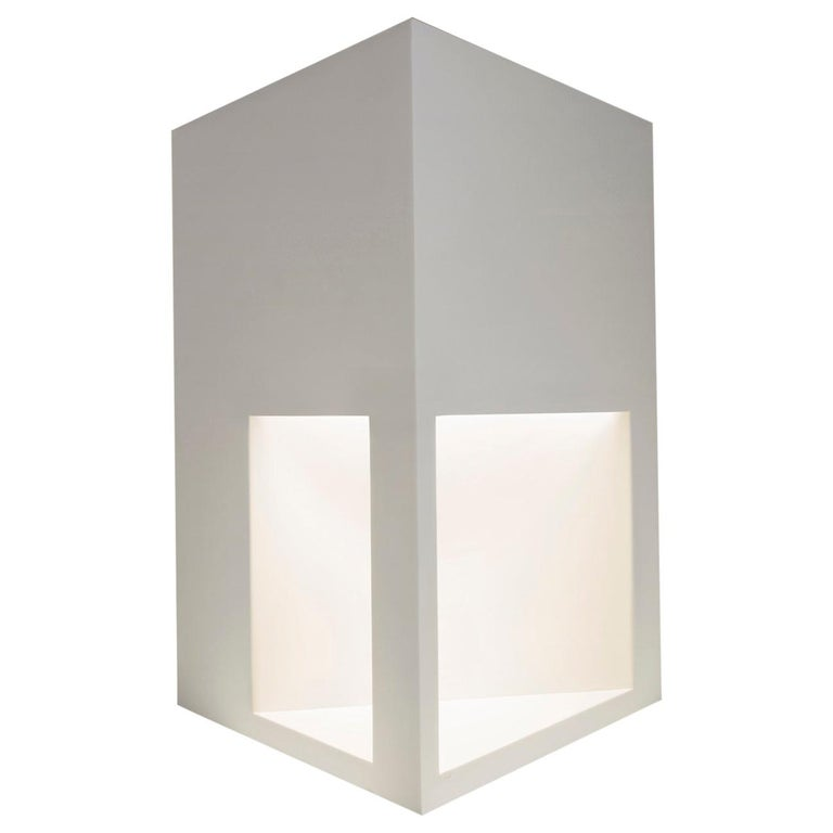 Floor Lamp Sculpture or End Table in White Corian, Ltd. Edition, I For Sale