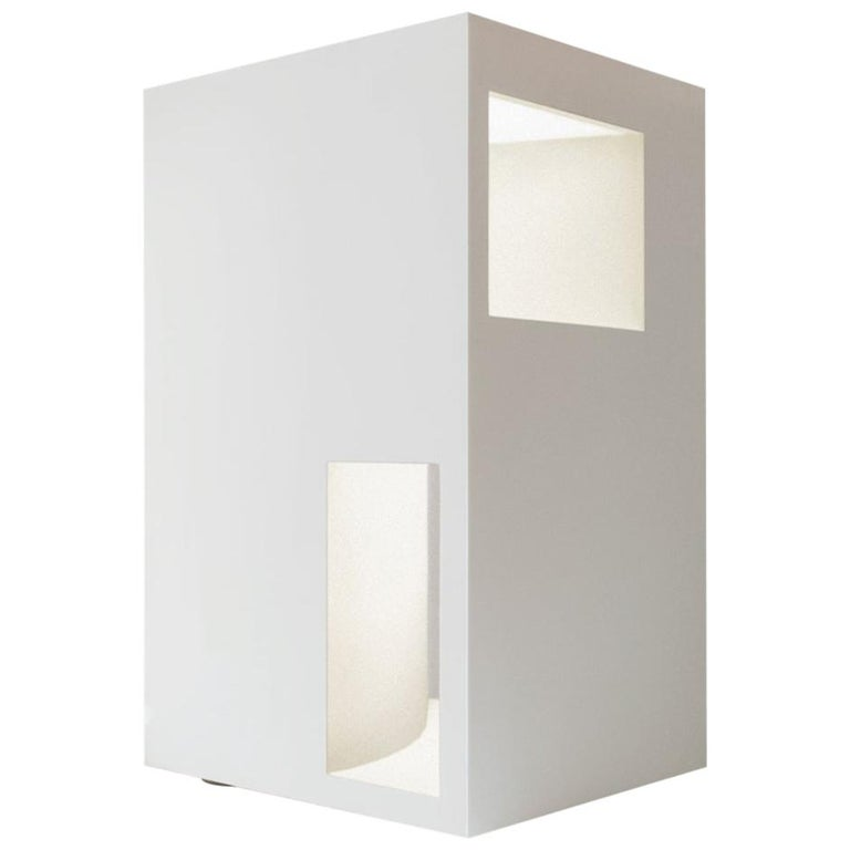 Floor Lamp Sculpture or End Table in White Corian, Ltd. Edition, II For Sale