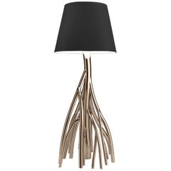 Floor Lamp Stainless Steel Gold Black White Linen, Italian Contemporary Design