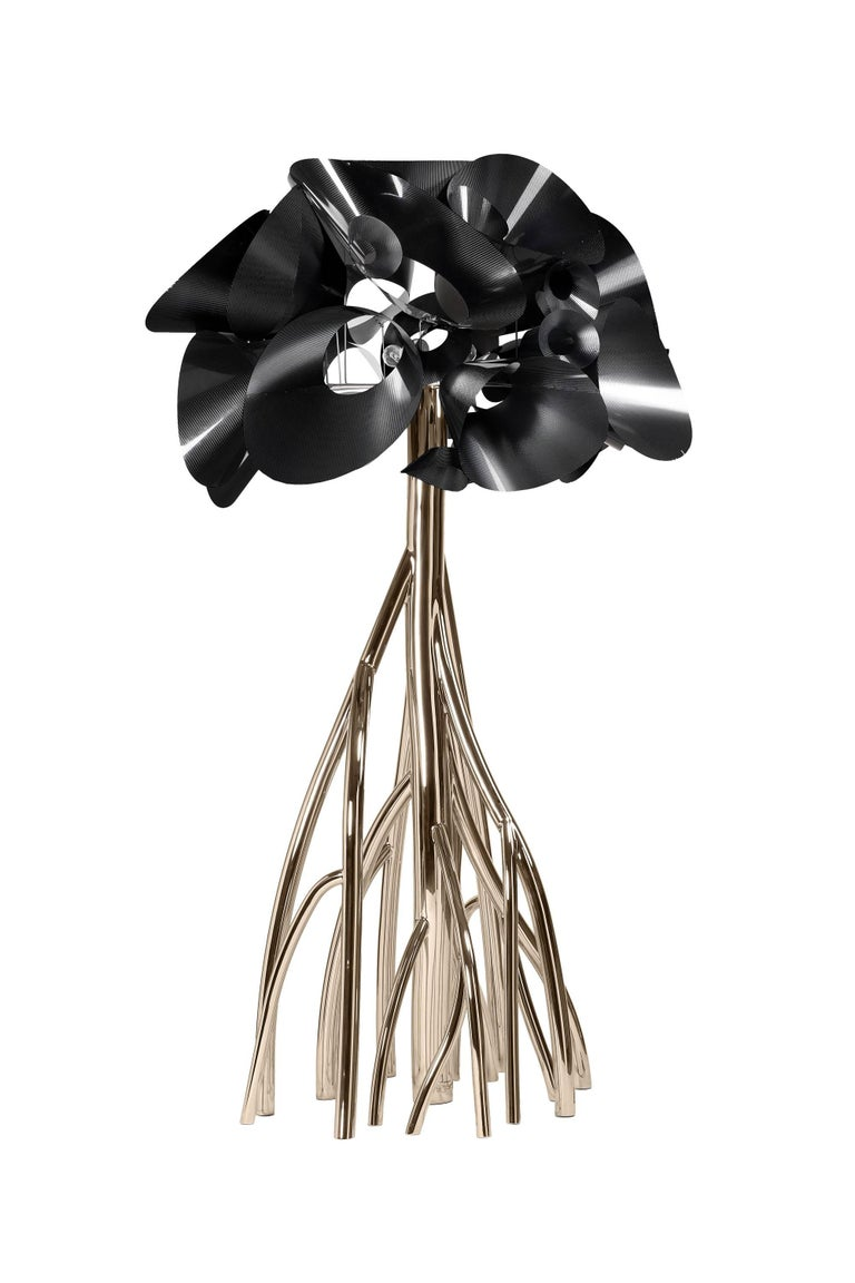 Anodized Floor Lamp Steel Gold Italian Contemporary Design For Sale