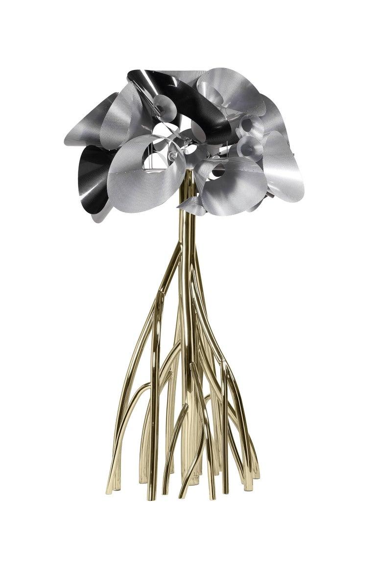 Floor Lamp Steel Gold Italian Contemporary Design In New Condition For Sale In Ancona, Marche