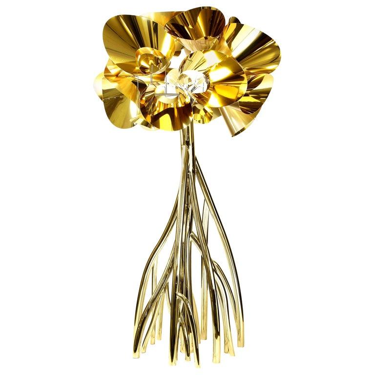 Floor Lamp Steel Gold Italian Contemporary Design For Sale