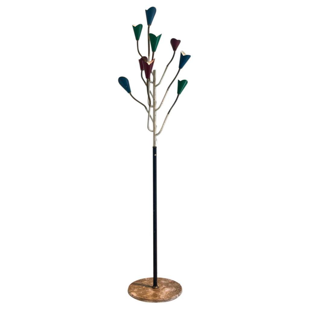 Floor Lamp Stilnovo Lacquered Metal Stem Aluminum Cones Brass Marble Italy 1950s