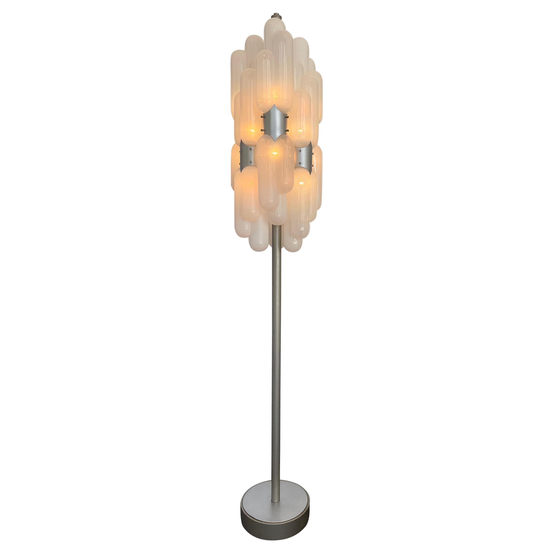 Floor Lamp Torpedo Glass Metal by Carlo Nason for Mazzega, Italy, 1970s