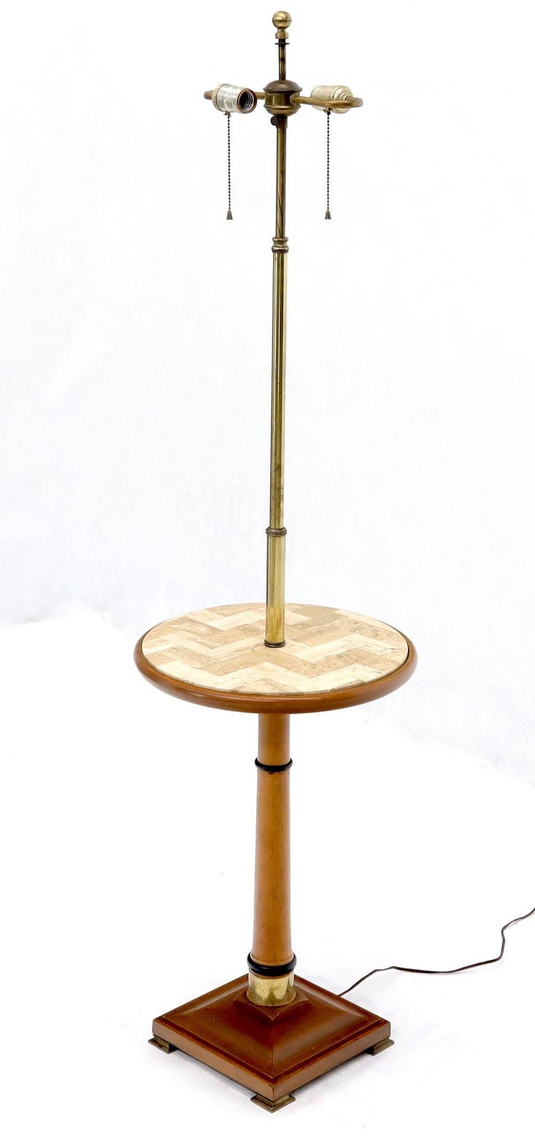 Mid-Century Modern round tessellated tile marble top end occasional table stand floor lamp on square base with bracket feet.