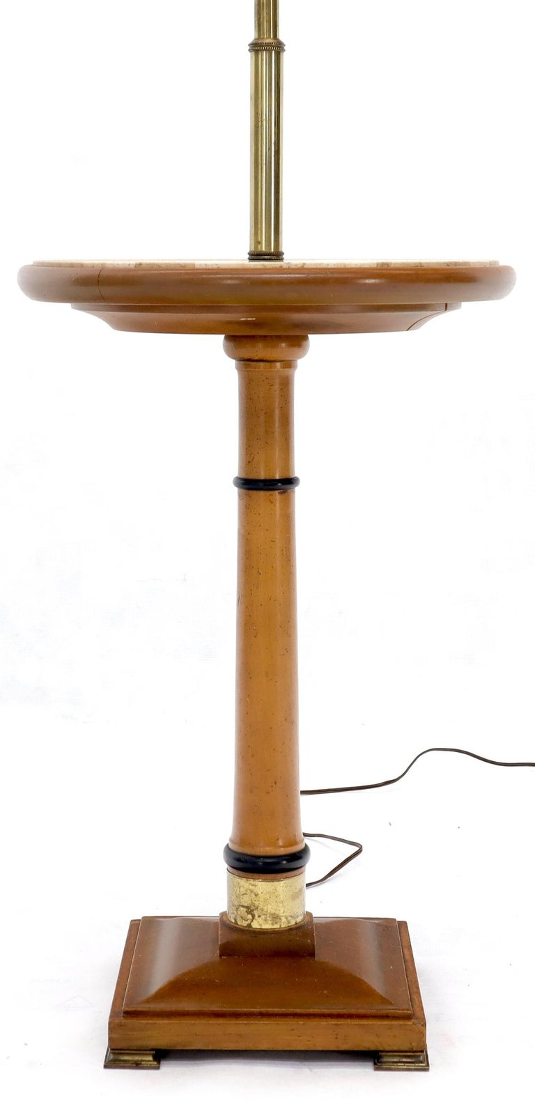Lacquered Floor Lamp with Built in Side Table For Sale