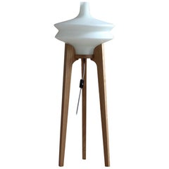 Floor Lamp, White Glass Lampshade, Wooden Base, Space Age, Midcentury, 1960s