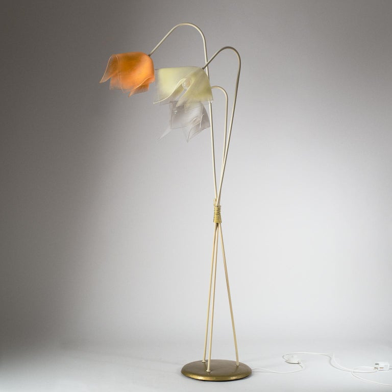 Steel Floor Lamp with Acrylic Shades, circa 1960 For Sale