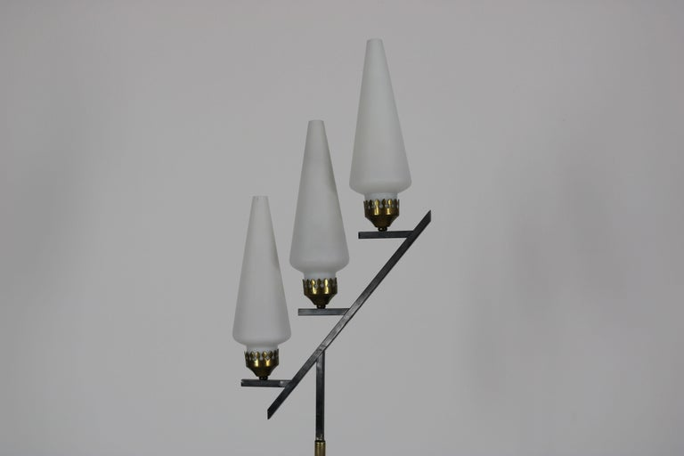 Italian Floor Lamp with Marble Base in the Manner of Stilnovo, Italy, 1950s For Sale