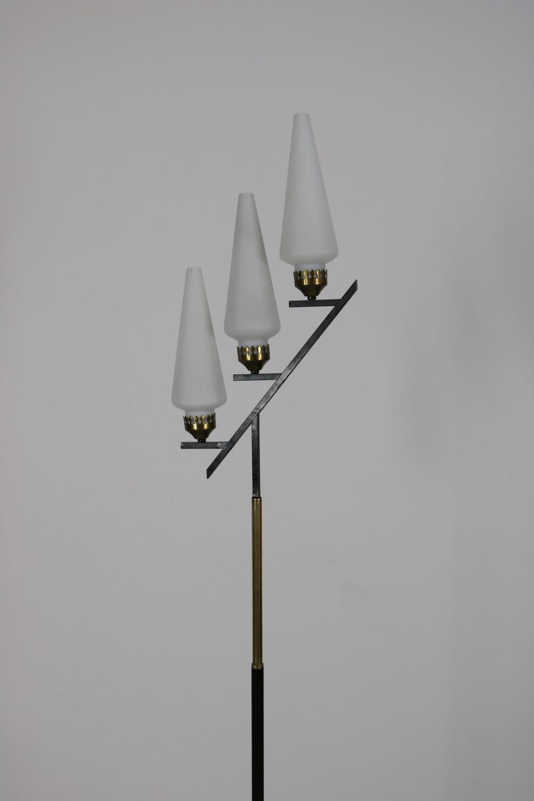 Floor Lamp with Marble Base in the Manner of Stilnovo, Italy, 1950s In Good Condition For Sale In Wolfurt, AT