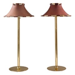 """Floor Lamps in Brass and Leather Model """"Anna"""" by Anna Ehrner for Ateljé Lyktan"""