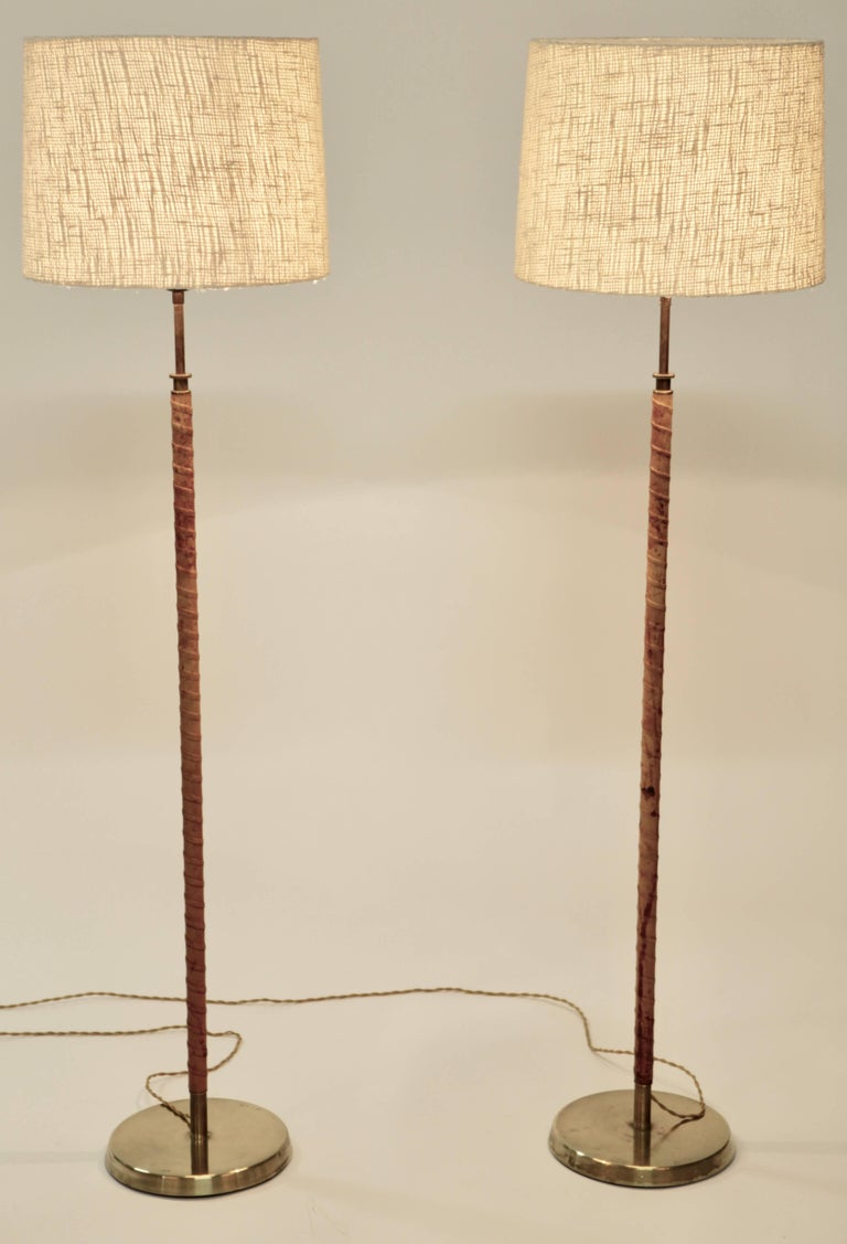 Mid-20th Century Floor Lamps, Leather and Brass, Sweden, 1940s For Sale