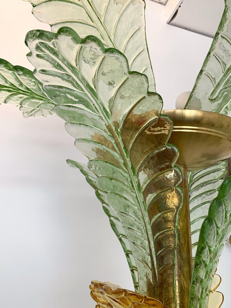 Floor Lamps Palm Tree Murano Glass and Brass, Italy For Sale 4