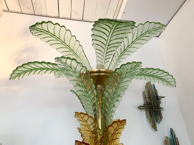 Floor Lamps Palm Tree Murano Glass and Brass, Italy For Sale 5