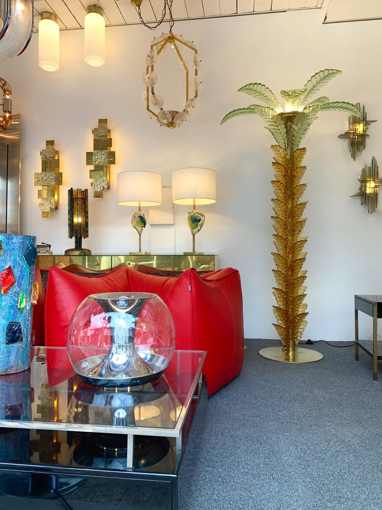 Floor Lamps Palm Tree Murano Glass and Brass, Italy For Sale 6