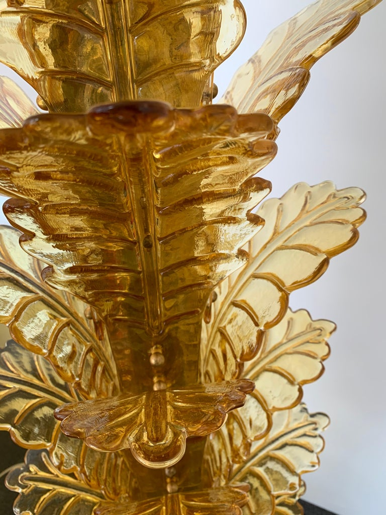 Floor Lamps Palm Tree Murano Glass and Brass, Italy In Good Condition For Sale In SAINT-OUEN, FR