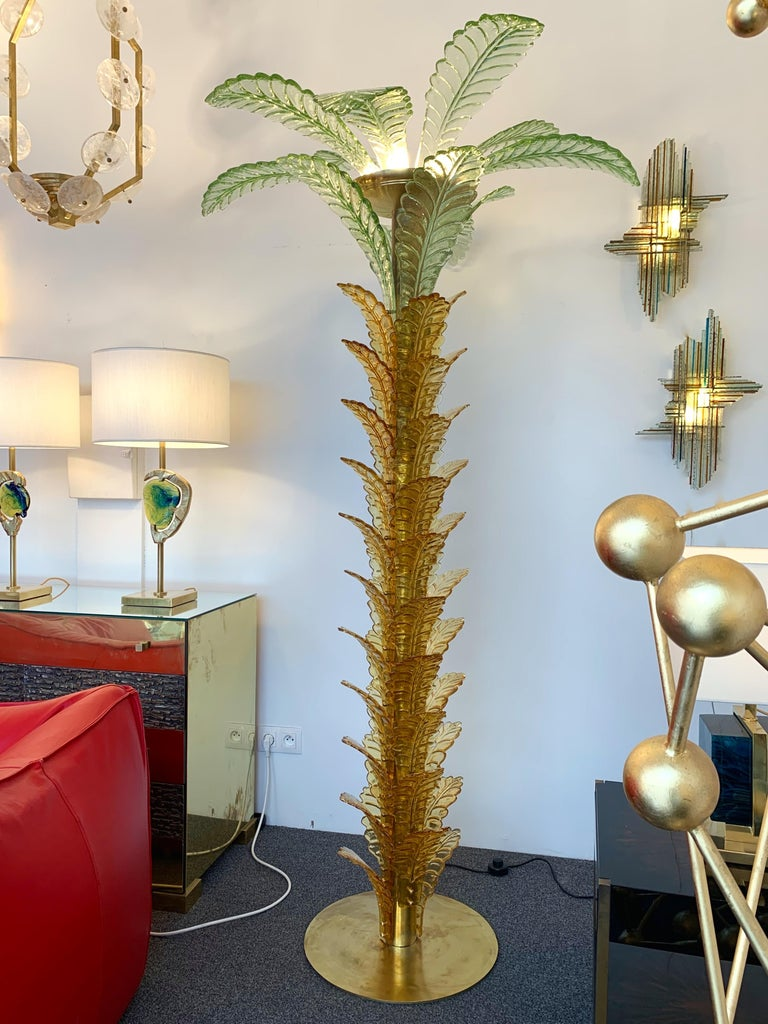 Late 20th Century Floor Lamps Palm Tree Murano Glass and Brass, Italy For Sale