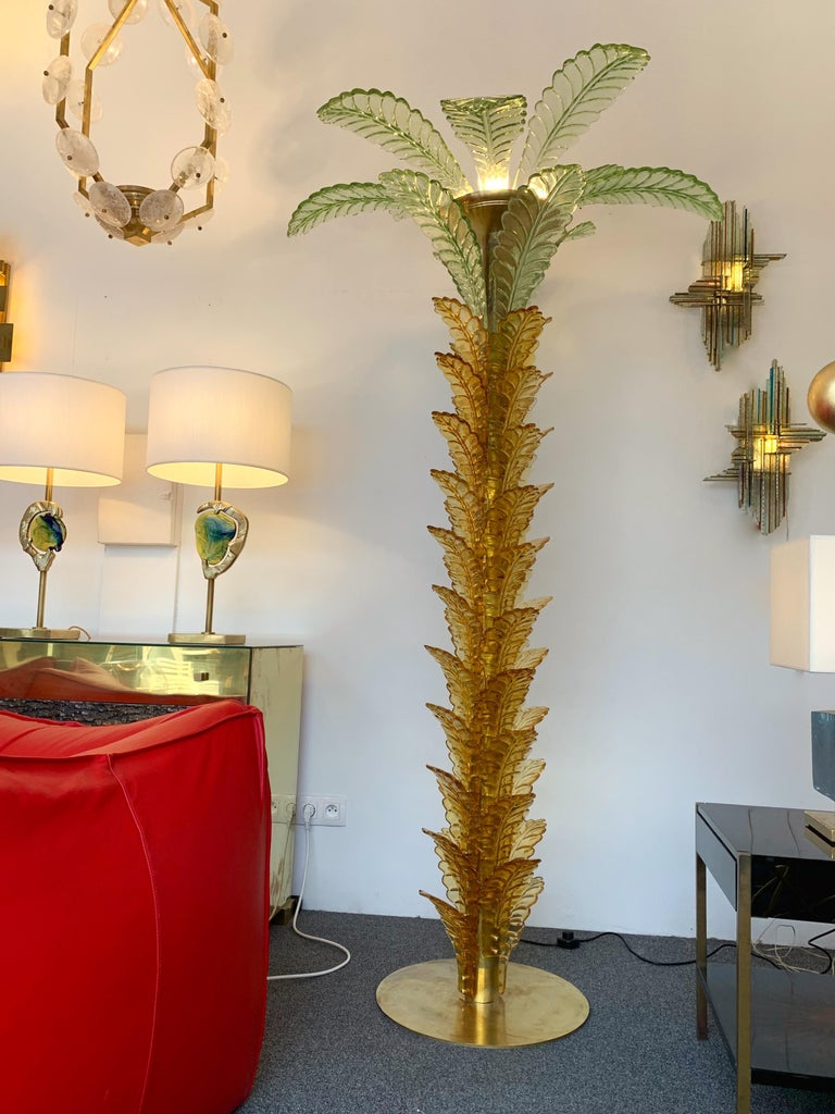 Floor Lamps Palm Tree Murano Glass and Brass, Italy For Sale 1