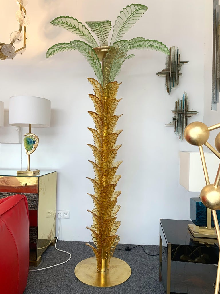 Floor Lamps Palm Tree Murano Glass and Brass, Italy For Sale 3