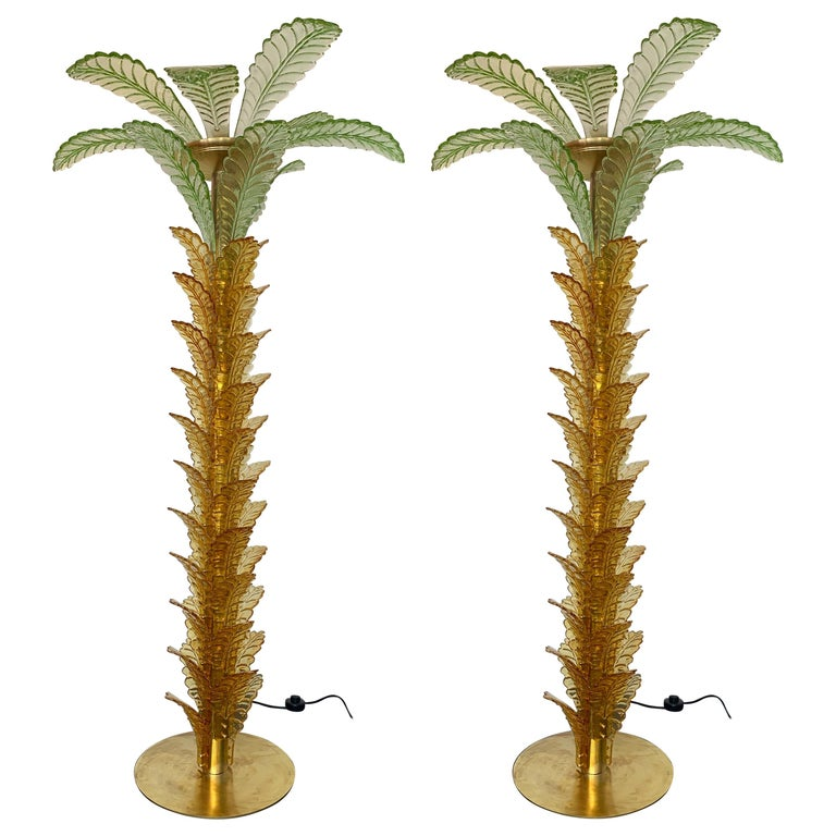 Floor Lamps Palm Tree Murano Glass and Brass, Italy For Sale