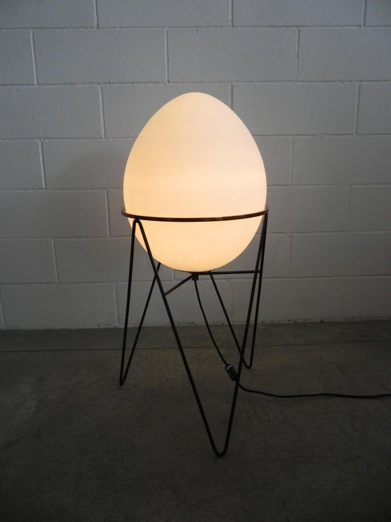 Fantastic Stilnovo midcentury floor lamps brass white glass opaline globe Italian, 1950.