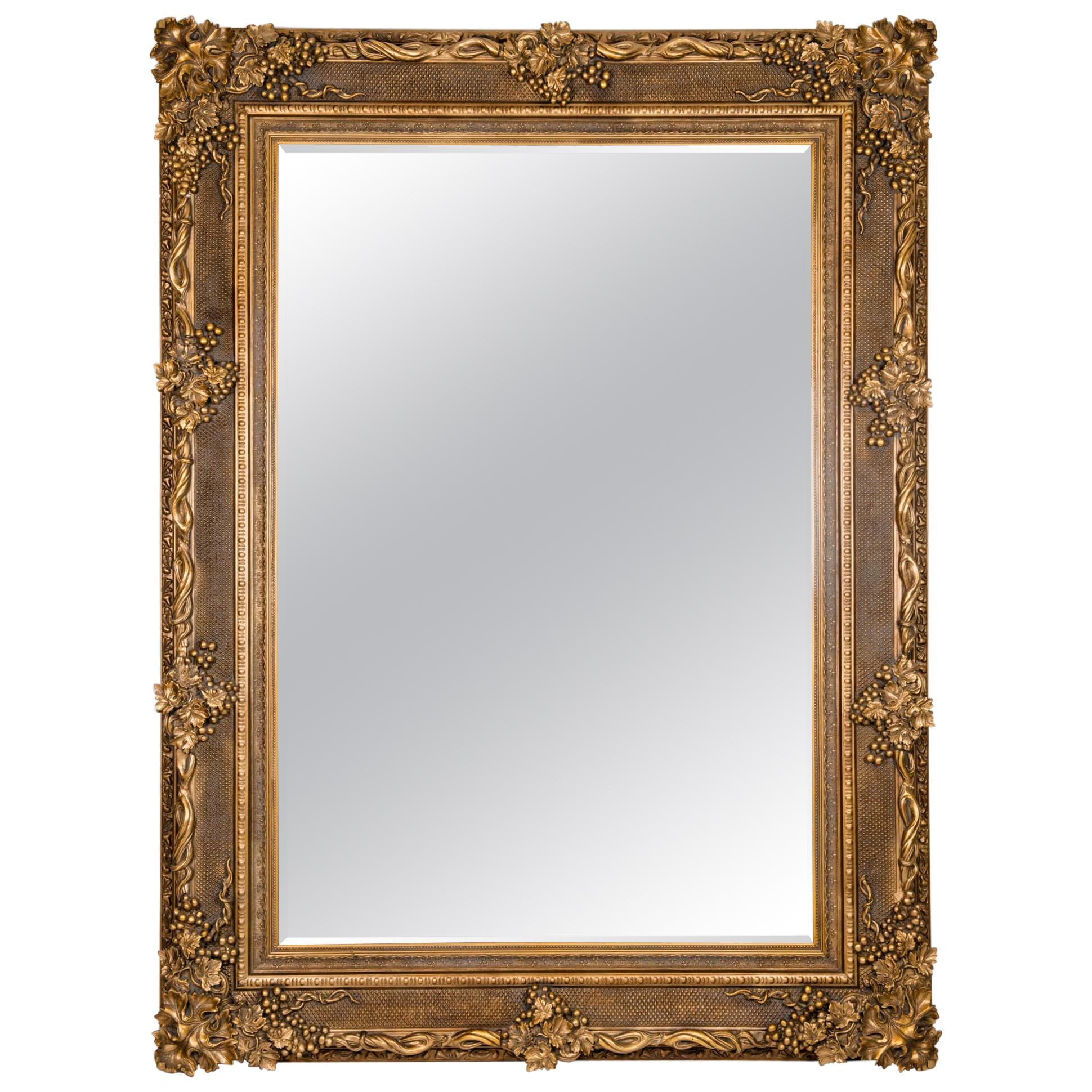 Floor Length Ornately Giltwood Hanging Beveled Wall Mirror
