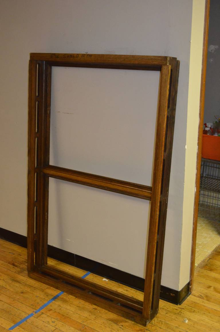 Arts and Crafts Floor Mirror Inserted into 1912 Oak Skylight Frame from Wisconsin State Capitol For Sale