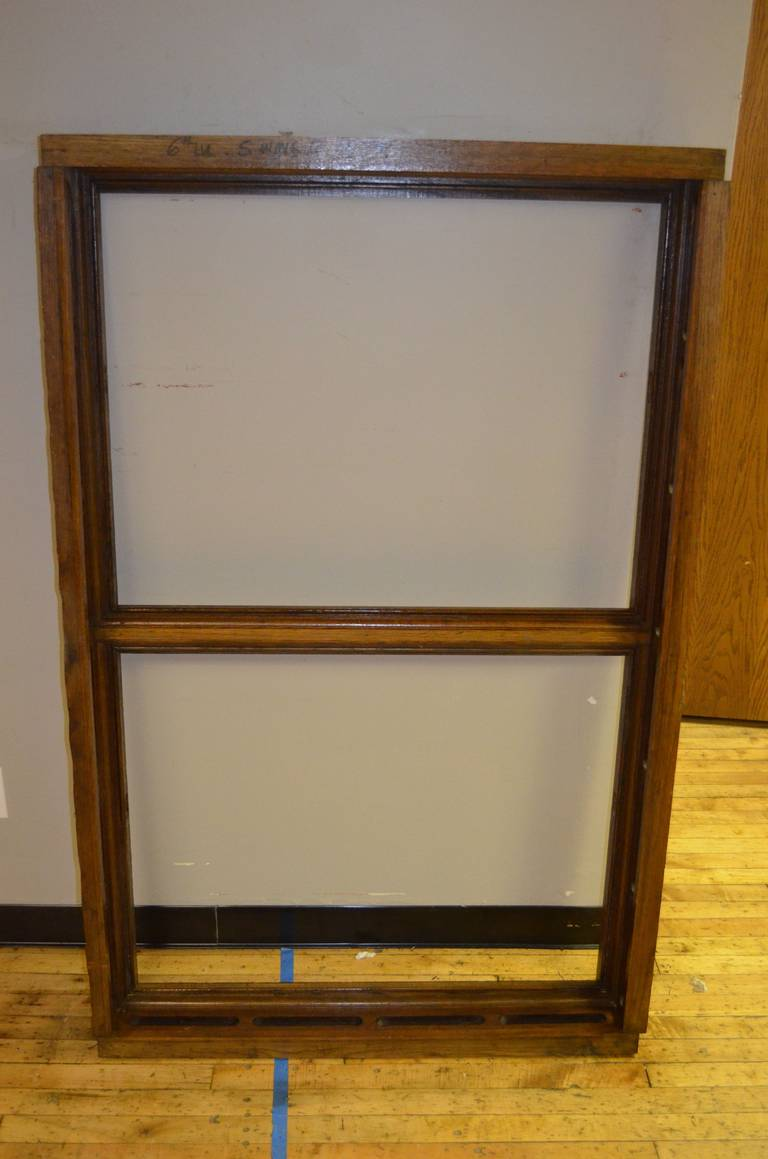 American Floor Mirror Inserted into 1912 Oak Skylight Frame from Wisconsin State Capitol For Sale