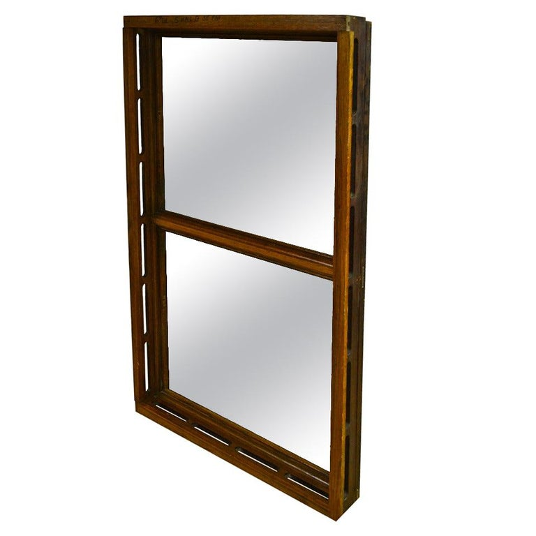 Floor Mirror Inserted into 1912 Oak Skylight Frame from Wisconsin State Capitol For Sale